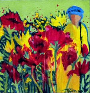 This tiny painting depicts bright red and yellow garden flowers with a figure clad in yellow matching the yellow flowers.