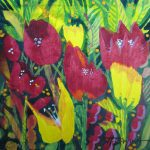 This tiny painting is lush with vibrant red and yellow flowers (abstract but mostly tulip-like) with varied green stems & leaves in background