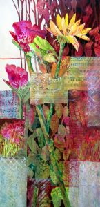 This painting had dynamic contrasts of color with a bright yelllow sunflower and two rosy red florals, with collage and abstracted leaf patterns in the background