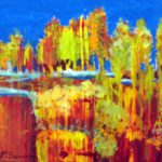 "This is a tiny painting (4X4"") of aspen-like trees with a narrow stream below them and abstract landscape below"