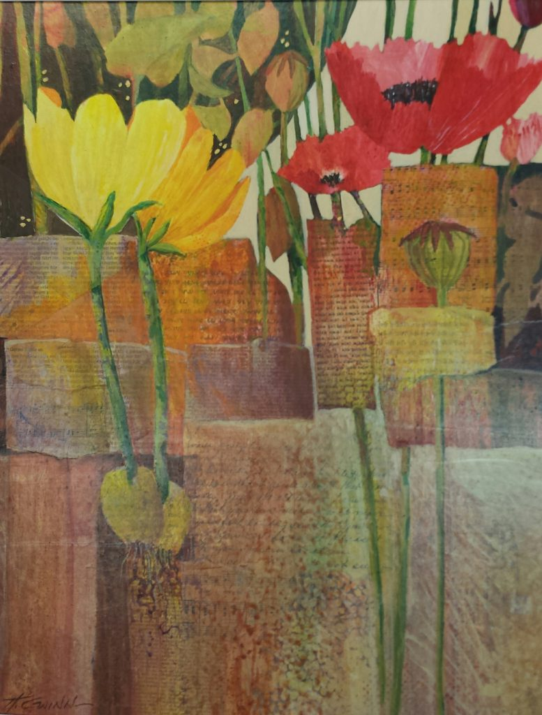 New Every Spring is a watermedia/collage painting depicting bright red poppies and yellow tulips amid subtle text and garden foliage.
