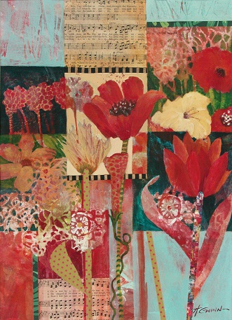 Floral melange, predominantly red and yellow, with collaged musical score and thin strips of paper collaged.