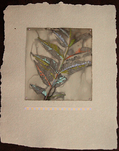 Leaf imprint on subtle tan, handmade papers with minimal touches of color, 14X11 inches, unframed, $90.00