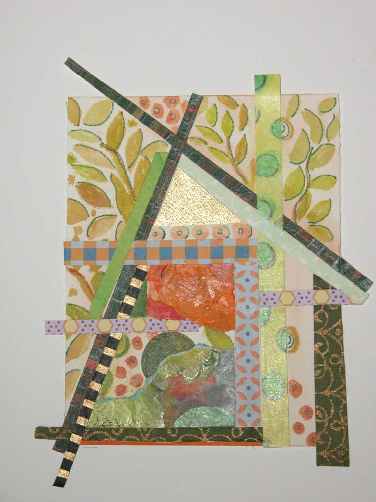 Abstract image suggesting an A-frame shelter, built with colorful collage papers and some watermedia painting.
