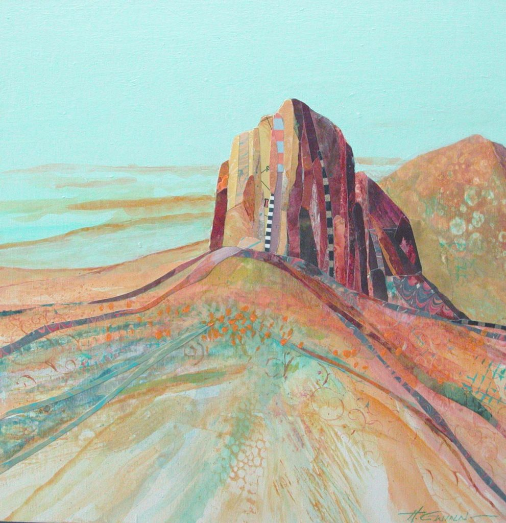 "Image of Signal Peak, also known as ""El Capitan."" Landforms, of rich rusty colors, in the peak are collage elements, along with a few long strips of collage in the foreground mounted over abstract landforms."