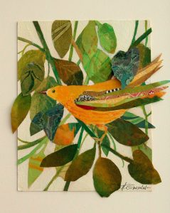 Colorful yellow bird with collaged wing, amid collaged & painted leaves.