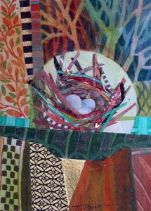 Colorful collage papers and painted portions with a central nest image, 3 pale blue eggs